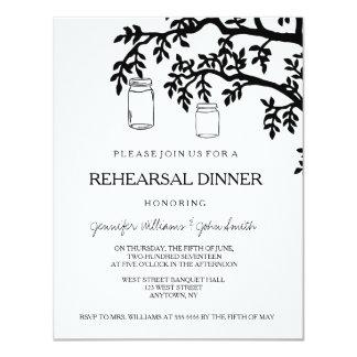 Mason jar tree rehearsal dinner invitations