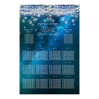 Mason Jar Under the Stars Wedding Seating Chart