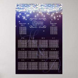 Mason Jar Under the Stars Wedding Seating Chart Poster