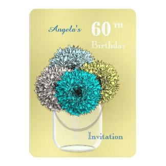 Mason Jar Vase Of Carnation Flowers Personalized Card