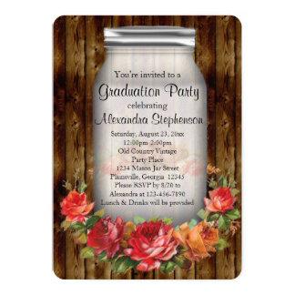 Mason Jar Vintage Country Graduation Party Card