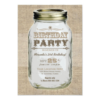 Mason Jar Vintage Look Birthday Party Card