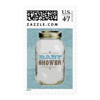 Mason Jar Vintage Look Boy Baby Shower Blue Postage Stamp
