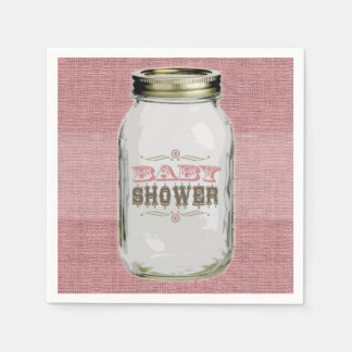 Mason Jar Vintage Look Pink Baby Shower Paper Napkin
