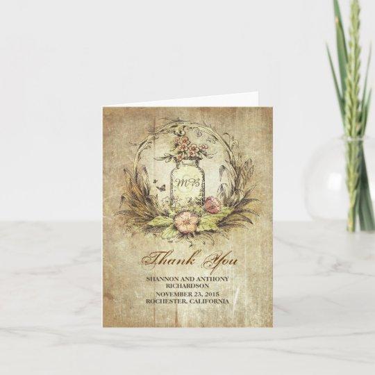 Mason Jar Vintage Rustic Wedding Thank You Card Zazzlecom