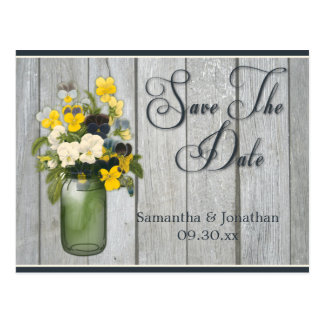 Mason Jar Violas Pansies Barn Wood Save The Date Postcard