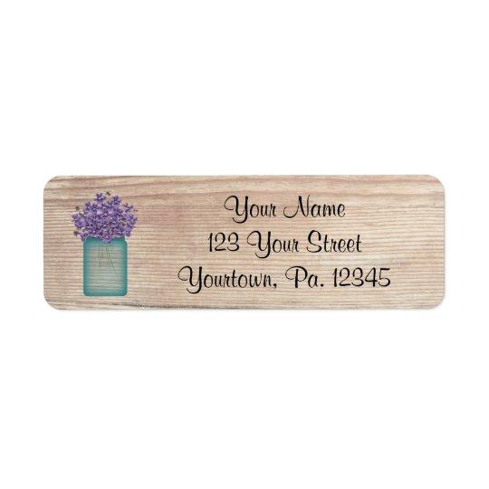 Mason Jar Violets Address Label