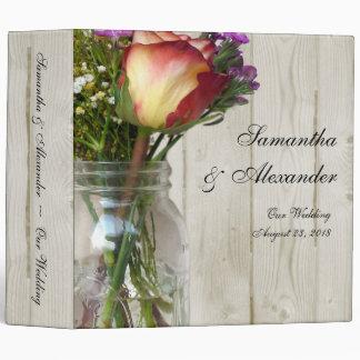 Mason Jar w/Rose and Wildflowers 3 Ring Binders