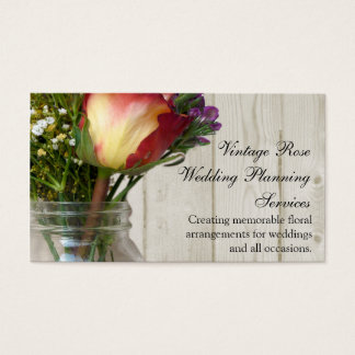 Mason Jar w/Rose and Wildflowers Business Card