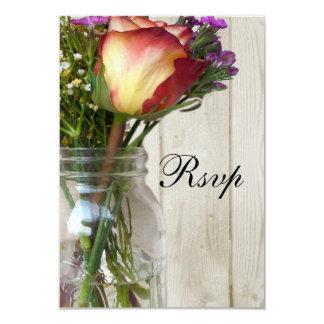 Mason Jar w/Rose and Wildflowers Card