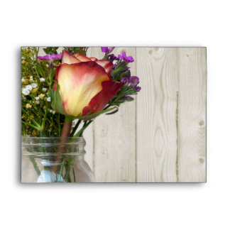 Mason Jar w/Rose and Wildflowers Envelopes