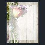 """Mason Jar w/Rose and Wildflowers Letterhead<br><div class=""""desc"""">Clear glass mason jar photograph with a red and yellow rose,  and purple,  white and yellow wildflowers.  A lovely theme for a natural,  summer,  outdoor vintage wedding.  Summer wild garden theme,  with light whitewashed wood planks in the background.  All Designs Copyright &#169; www.CustomInvitesOnline.com</div>"""