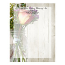 Mason Jar w/Rose and Wildflowers Letterhead