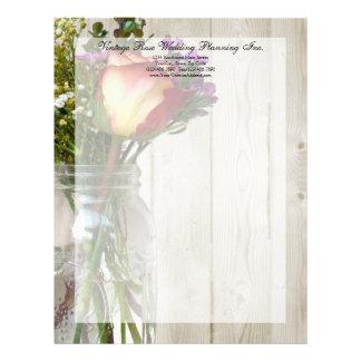 Mason Jar w/Rose and Wildflowers Letterhead