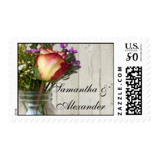 Mason Jar w/Rose and Wildflowers Postage