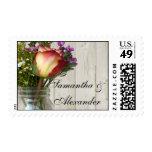 Mason Jar w/Rose and Wildflowers Postage Stamp