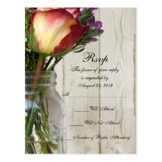 Mason Jar w/Rose and Wildflowers Postcard