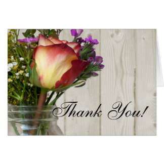 Mason Jar w/Rose and Wildflowers Thank You Stationery Note Card