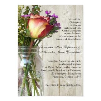 Mason Jar w/Rose Photographic Wedding Ceremony 5x7 Paper Invitation Card