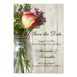 Mason Jar w/Rose/Wildflowers Save the Date 5x7 Paper Invitation Card