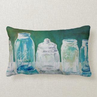 Mason Jar Watercolor Lumbar Pillow