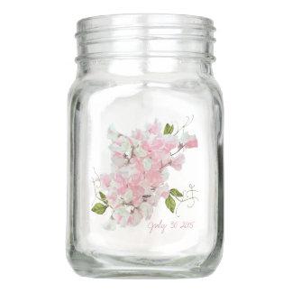 MASON JAR WATERCOLOR PINK SWEET PEAS