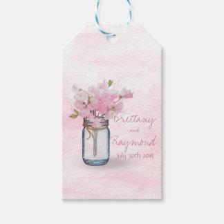 MASON JAR WATERCOLOR PINK SWEET PEAS GIFT TAGS