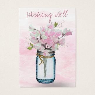 MASON JAR WATERCOLOR PINK SWEET PEAS WISHING WELL BUSINESS CARD