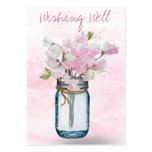 MASON JAR WATERCOLOR PINK SWEET PEAS WISHING WELL LARGE BUSINESS CARDS (Pack OF 100)