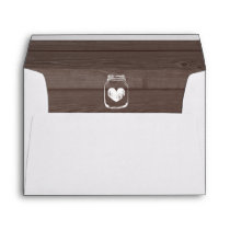 Mason jar wedding envelopes and wood grain liner
