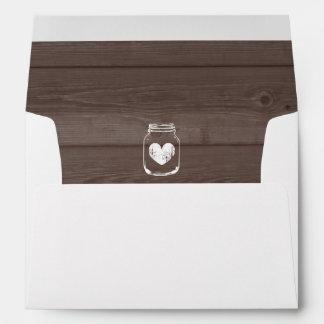 Mason jar wedding envelopes and wood grain liner