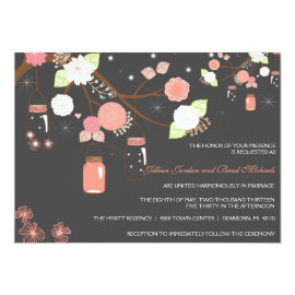 Mason Jar Wedding Invitation - Coral, Lime, Gray 5