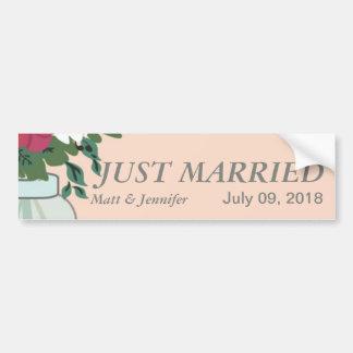 Mason Jar Wedding Invitation – Pastel Apricot Car Bumper Sticker