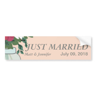 Mason Jar Wedding Invitation – Pastel Apricot Bumper Sticker