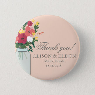 Mason Jar Wedding Invitation – Pastel Apricot Button
