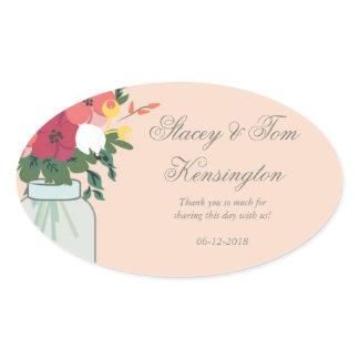 Mason Jar Wedding Invitation – Pastel Apricot Oval Sticker