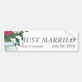 Mason Jar Wedding Invitation – Pastel Floral White Car Bumper Sticker