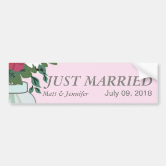 Mason Jar Wedding Invitation – Pastel Pink Car Bumper Sticker