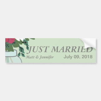 Mason Jar Wedding Invitation – Pastel Sea Green Car Bumper Sticker