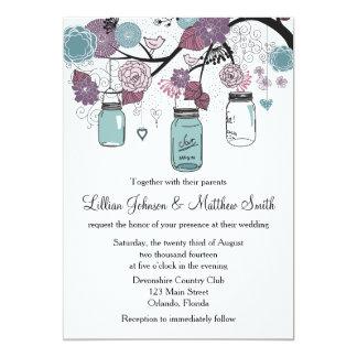 Mason Jar Wedding Invitation - Purple and Blue