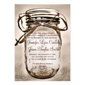 Mason Jar Wedding Invitation with Engagement Photo Personalized Invitation