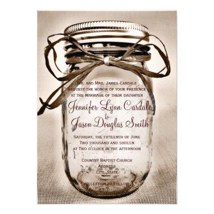 Mason Jar Wedding Invitation with Engagement Photo
