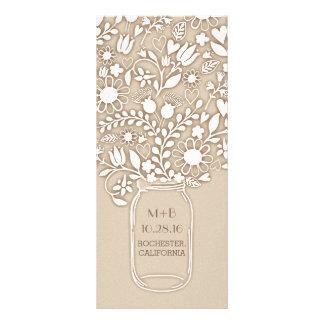 Mason jar wedding programs rack card design