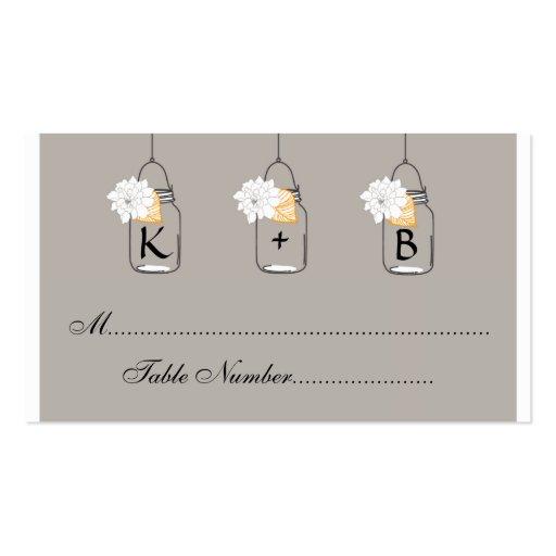 Mason Jar Wedding Seating Cards // Escort Cards Business Card Templates