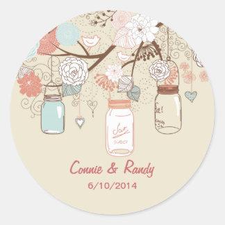Mason Jar Wedding Sticker Blue Rust Country