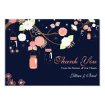 Mason Jar Wedding Thank You Card- Coral and Blue Card