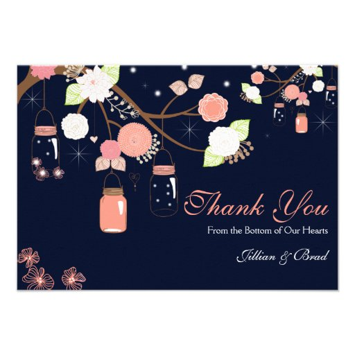 Mason Jar Wedding Thank You Card- Coral and Blue