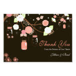 Mason Jar Wedding Thank You Card- Coral and Brown Card