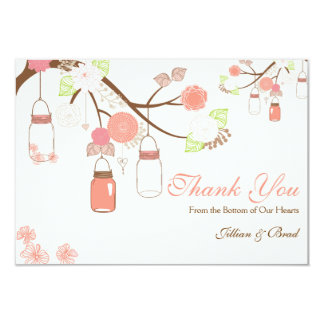 Mason Jar Wedding Thank You Card- Coral and White 3.5x5 Paper Invitation Card