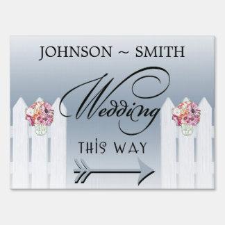 Mason Jar Wedding This Way Yard Sign